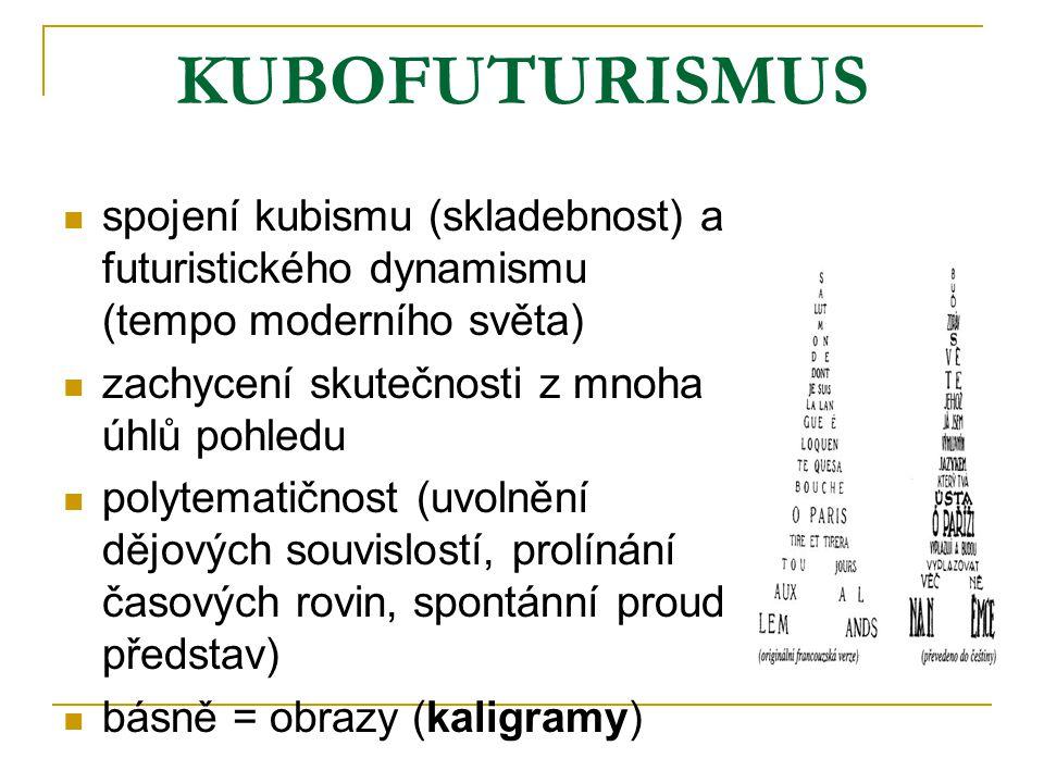 KUBOFUTURISMUS spojení kubismu (skladebnost) a futuristického dynamismu (tempo moderního světa) zachycení skutečnosti z mnoha úhlů pohledu polytematič