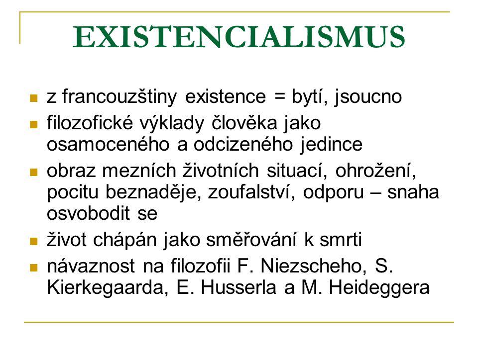 EXISTENCIALISMUS z francouzštiny existence = bytí, jsoucno filozofické výklady člověka jako osamoceného a odcizeného jedince obraz mezních životních s