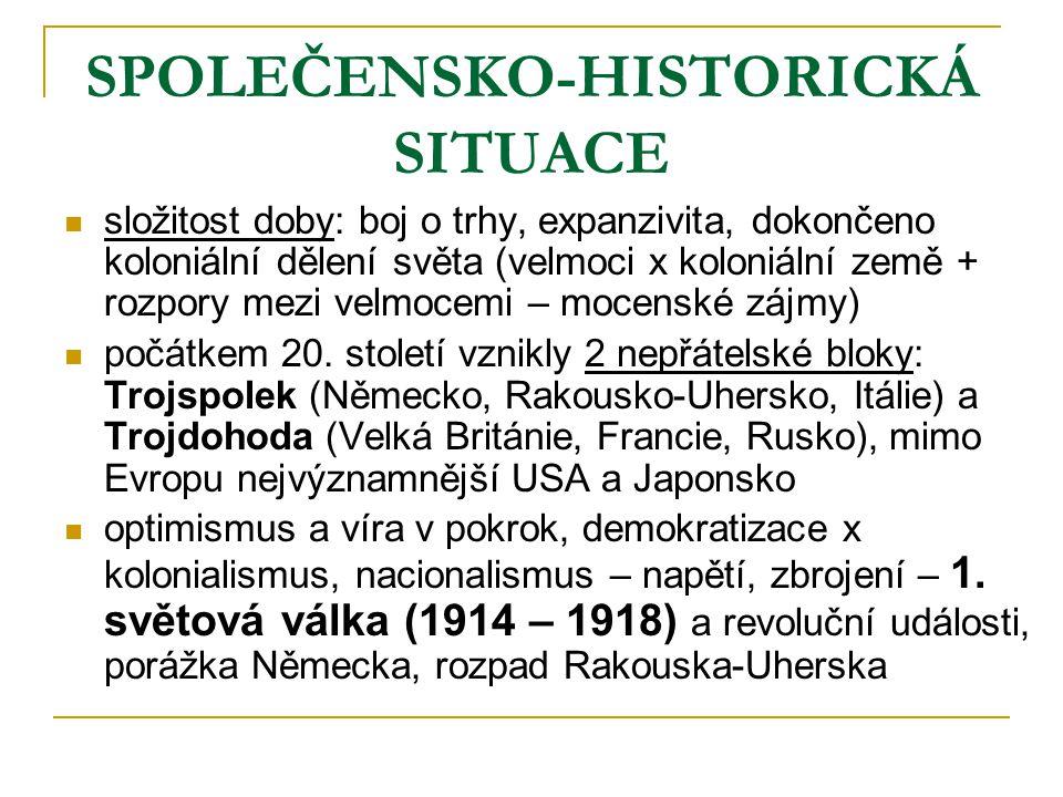 SPOLEČENSKO-HISTORICKÁ SITUACE složitost doby: boj o trhy, expanzivita, dokončeno koloniální dělení světa (velmoci x koloniální země + rozpory mezi ve