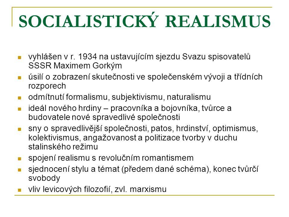 SOCIALISTICKÝ REALISMUS vyhlášen v r. 1934 na ustavujícím sjezdu Svazu spisovatelů SSSR Maximem Gorkým úsilí o zobrazení skutečnosti ve společenském v