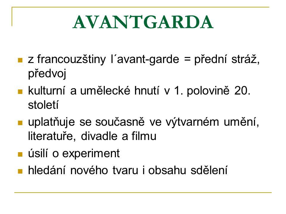 AVANTGARDA z francouzštiny l´avant-garde = přední stráž, předvoj kulturní a umělecké hnutí v 1. polovině 20. století uplatňuje se současně ve výtvarné