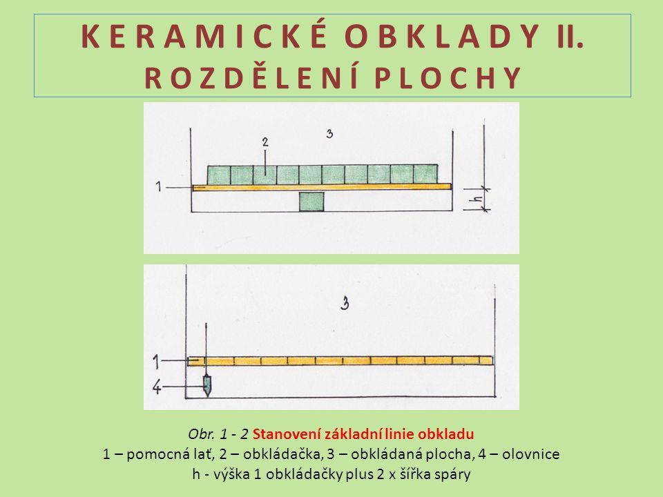 K E R A M I C K É O B K L A D Y II. R O Z D Ě L E N Í P L O C H Y Obr. 1 - 2 Stanovení základní linie obkladu 1 – pomocná lať, 2 – obkládačka, 3 – obk