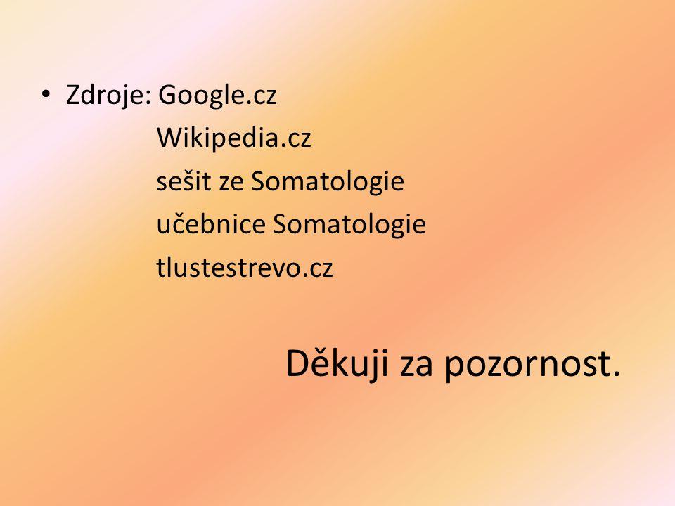 Zdroje: Google.cz Wikipedia.cz sešit ze Somatologie učebnice Somatologie tlustestrevo.cz Děkuji za pozornost.