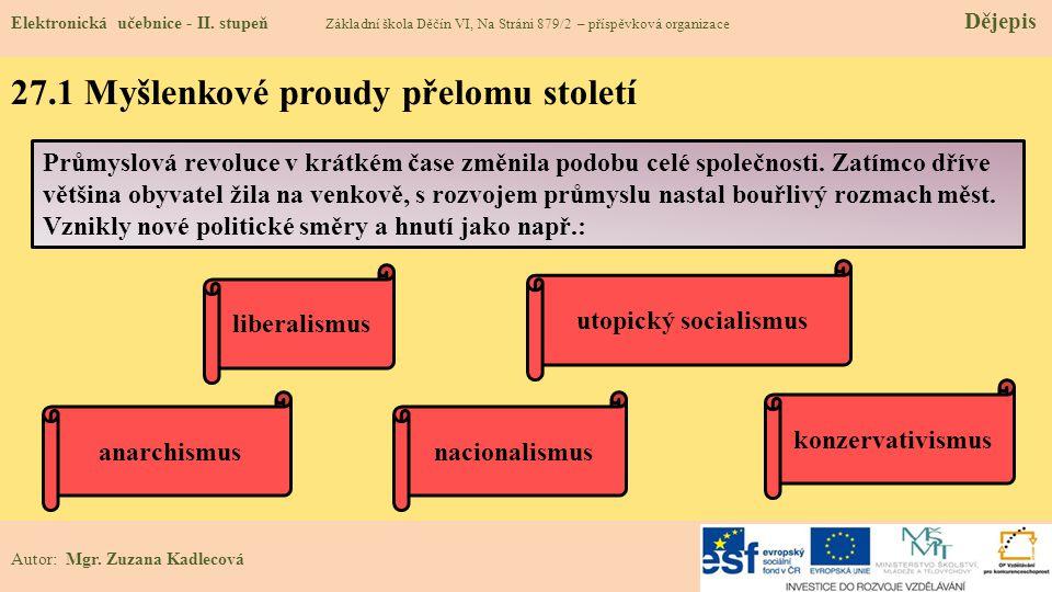 27.1 Myšlenkové proudy přelomu století Elektronická učebnice - II.