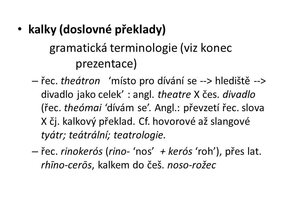 kalky (doslovné překlady) gramatická terminologie (viz konec prezentace) – řec.