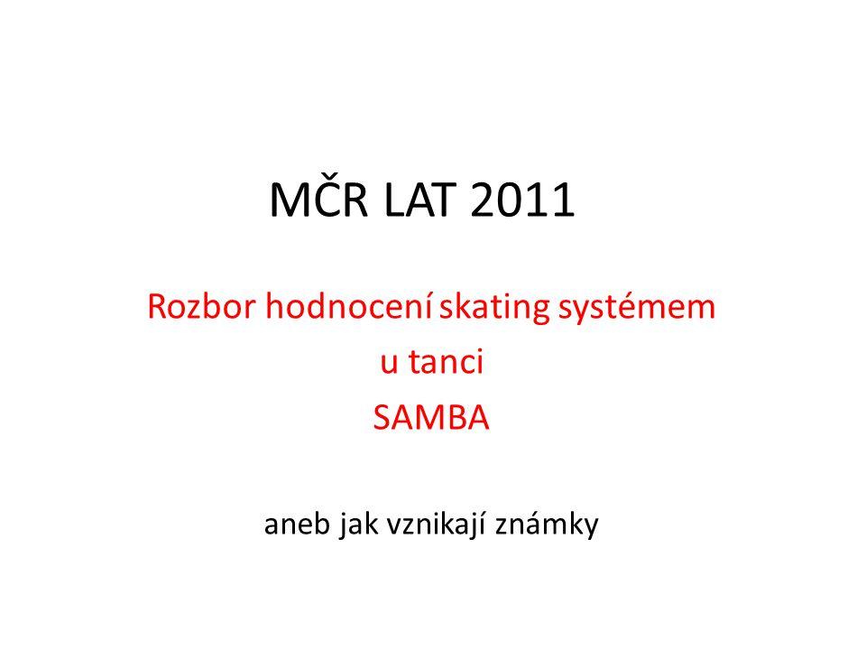 MČR LAT 2011 Rozbor hodnocení skating systémem u tanci SAMBA aneb jak vznikají známky
