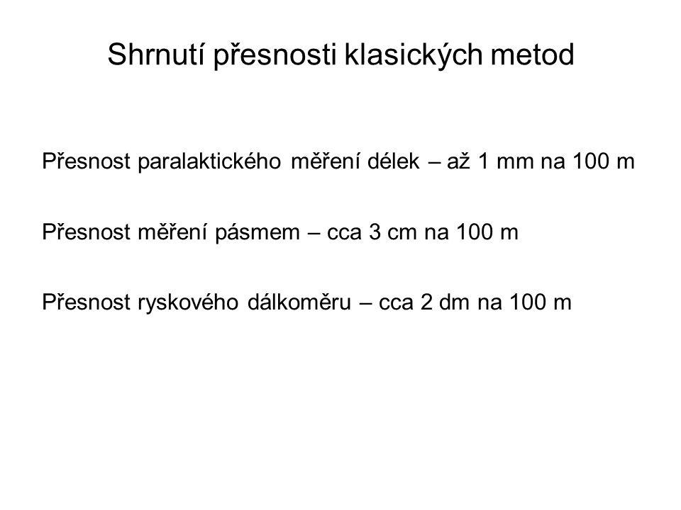 Přesnost paralaktického měření délek – až 1 mm na 100 m Přesnost měření pásmem – cca 3 cm na 100 m Přesnost ryskového dálkoměru – cca 2 dm na 100 m Sh
