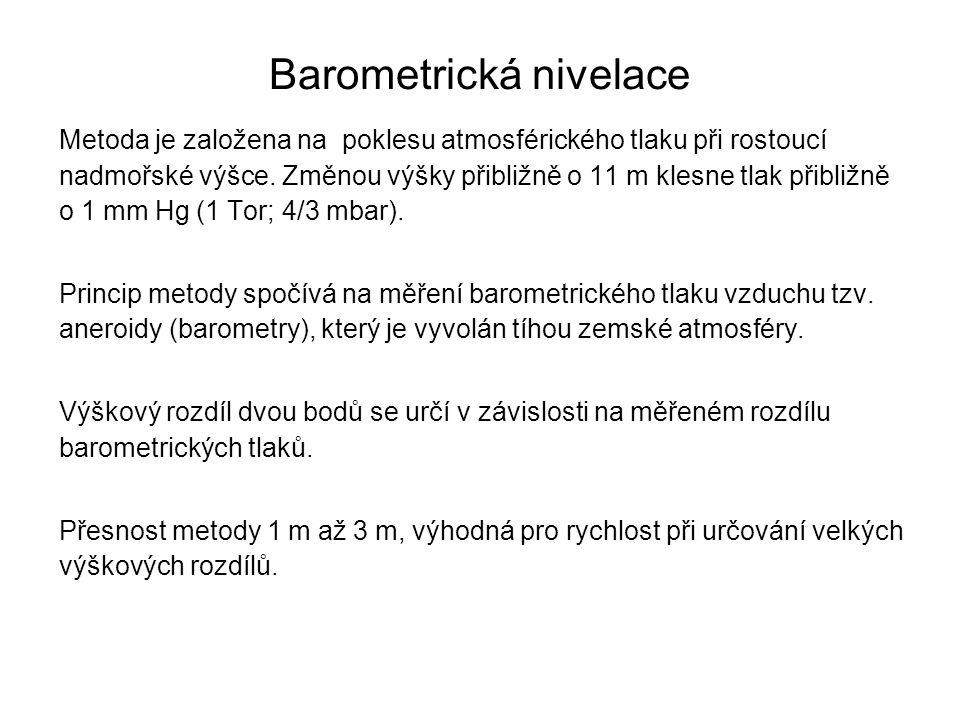 Barometrická nivelace Metoda je založena na poklesu atmosférického tlaku při rostoucí nadmořské výšce. Změnou výšky přibližně o 11 m klesne tlak přibl