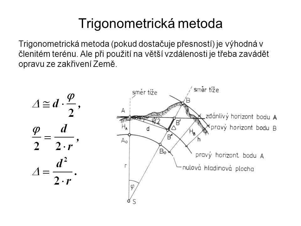 Trigonometrická metoda Trigonometrická metoda (pokud dostačuje přesností) je výhodná v členitém terénu. Ale při použití na větší vzdálenosti je třeba