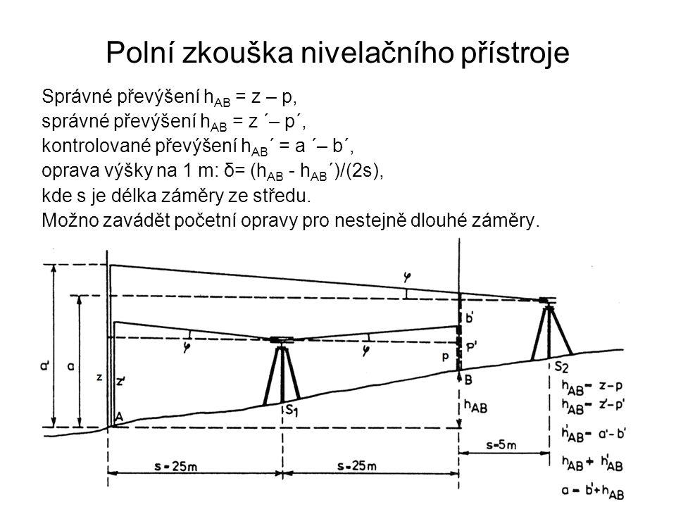 Polní zkouška nivelačního přístroje Správné převýšení h AB = z – p, správné převýšení h AB = z ´– p´, kontrolované převýšení h AB ´ = a ´– b´, oprava