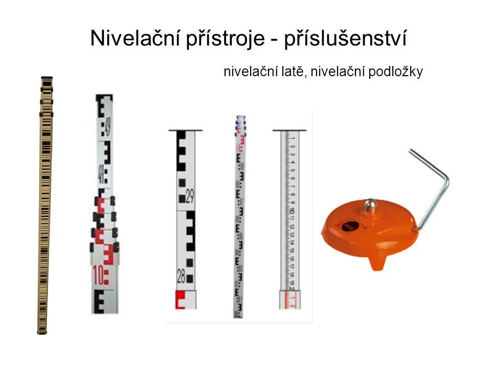 Nivelační přístroje - příslušenství nivelační latě, nivelační podložky