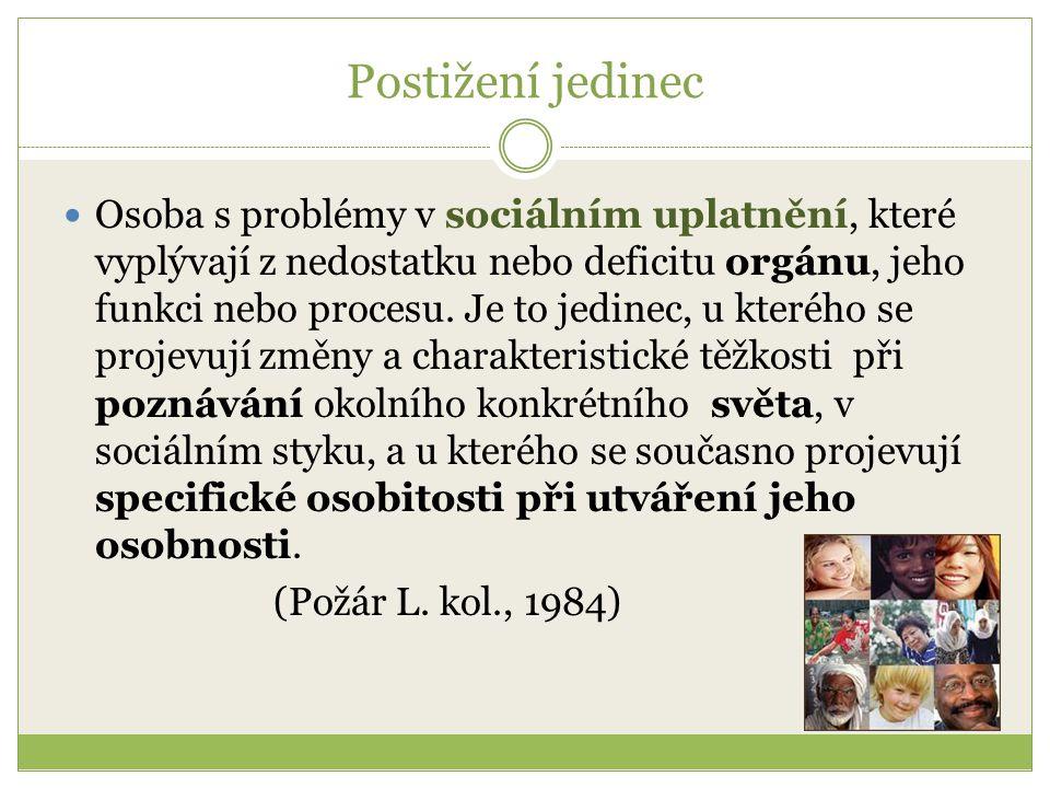 Postižení jedinec Osoba s problémy v sociálním uplatnění, které vyplývají z nedostatku nebo deficitu orgánu, jeho funkci nebo procesu. Je to jedinec,