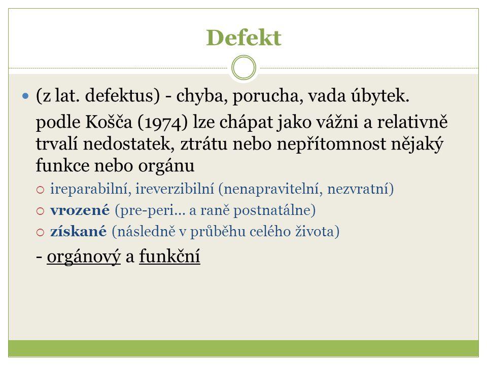 Defekt (z lat. defektus) - chyba, porucha, vada úbytek. podle Košča (1974) lze chápat jako vážni a relativně trvalí nedostatek, ztrátu nebo nepřítomno