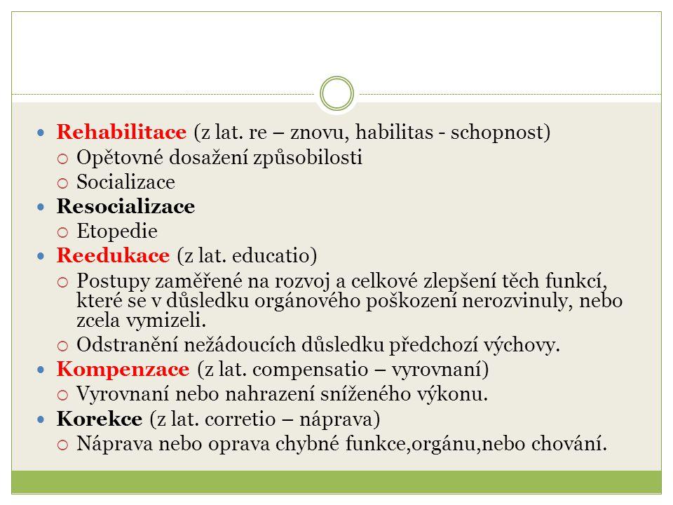 Rehabilitace (z lat. re – znovu, habilitas - schopnost)  Opětovné dosažení způsobilosti  Socializace Resocializace  Etopedie Reedukace (z lat. educ