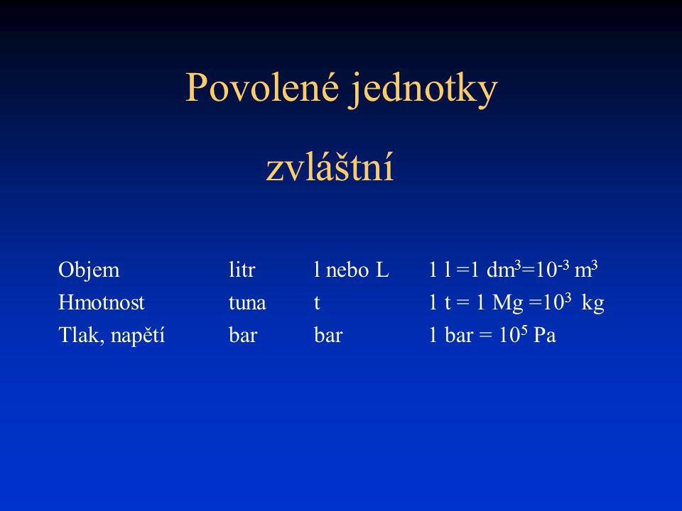 Povolené jednotky Objemlitrl nebo L 1 l =1 dm 3 =10 -3 m 3 Hmotnosttunat1 t = 1 Mg =10 3 kg Tlak, napětíbarbar1 bar = 10 5 Pa zvláštní