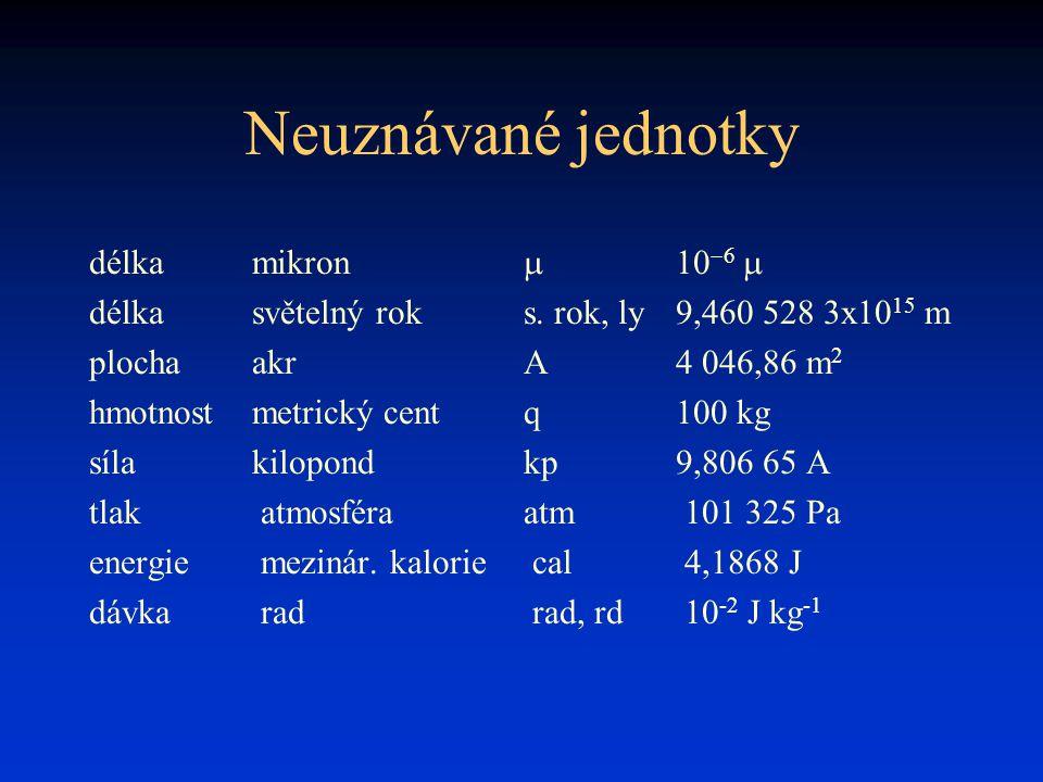 Neuznávané jednotky délkamikron    délka světelný roks. rok, ly9,460 528 3x10 15 m plochaakrA4 046,86 m 2 hmotnostmetrický centq100 kg sílakilo