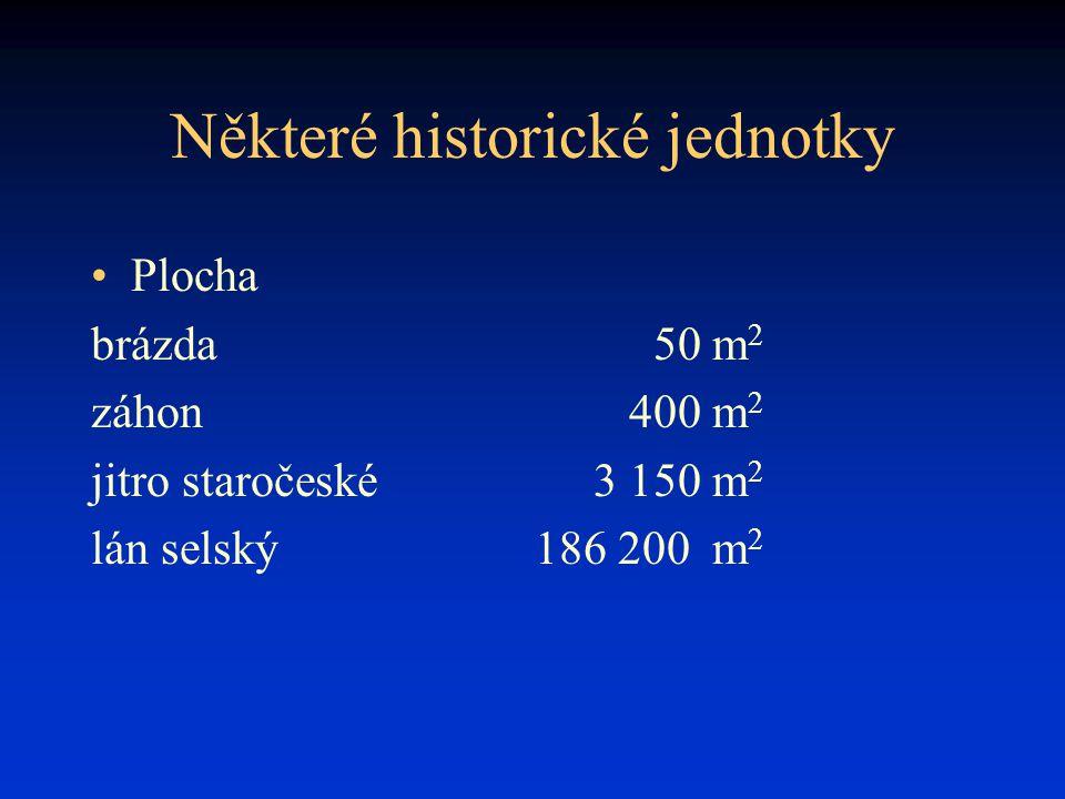 Některé historické jednotky Plocha brázda50 m 2 záhon400 m 2 jitro staročeské3 150 m 2 lán selský186 200 m 2