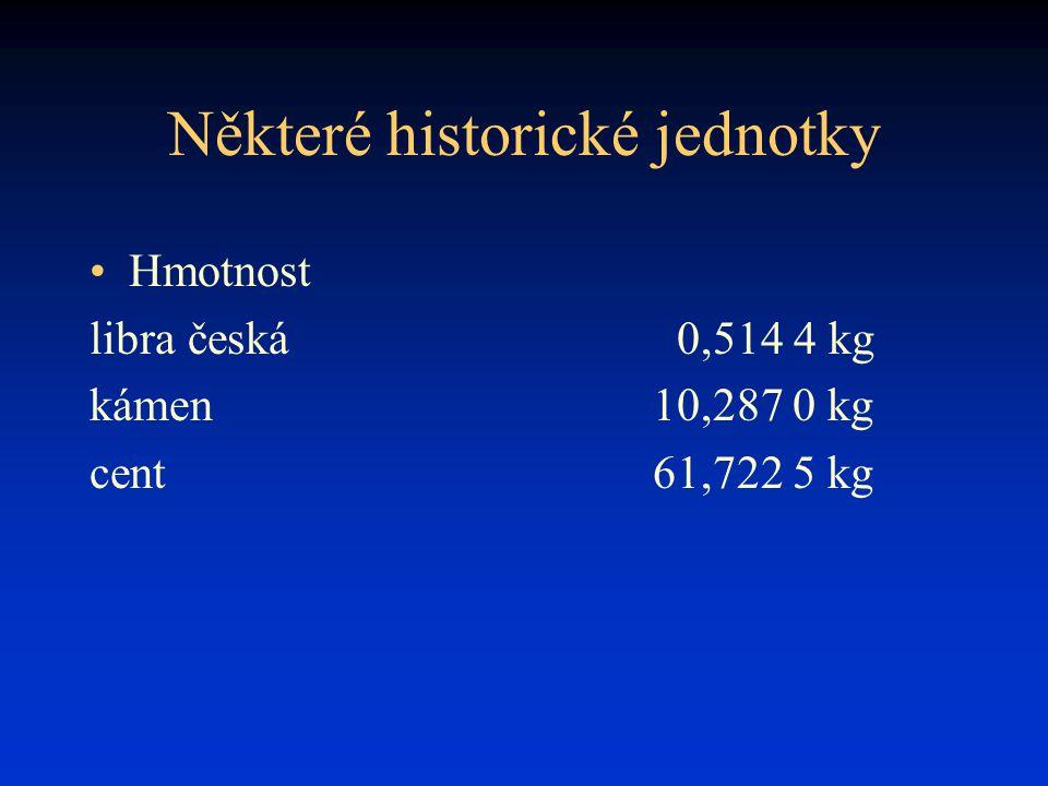 Některé historické jednotky Hmotnost libra česká0,514 4 kg kámen10,287 0 kg cent61,722 5 kg