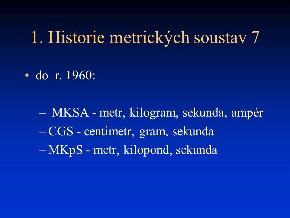 1. Historie metrických soustav 7 do r. 1960: – MKSA - metr, kilogram, sekunda, ampér –CGS - centimetr, gram, sekunda –MKpS - metr, kilopond, sekunda