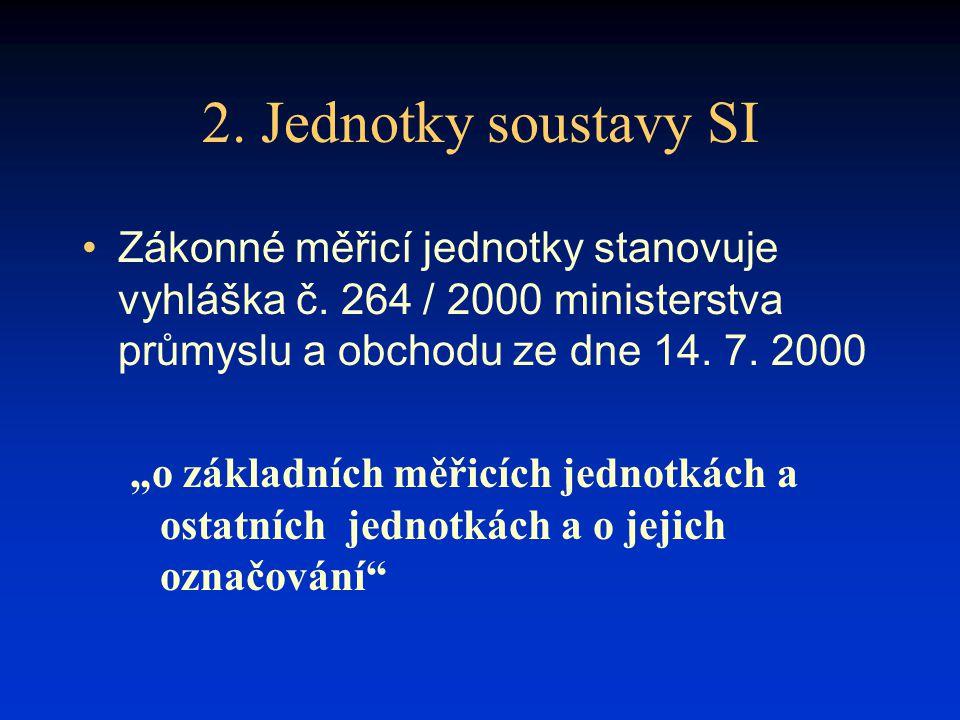 """2. Jednotky soustavy SI Zákonné měřicí jednotky stanovuje vyhláška č. 264 / 2000 ministerstva průmyslu a obchodu ze dne 14. 7. 2000 """"o základních měři"""