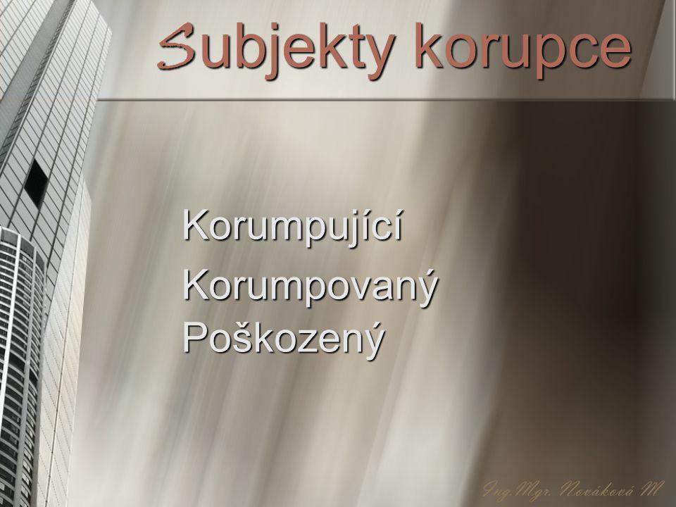 Subjekty korupce Korumpující Korumpovaný Poškozený