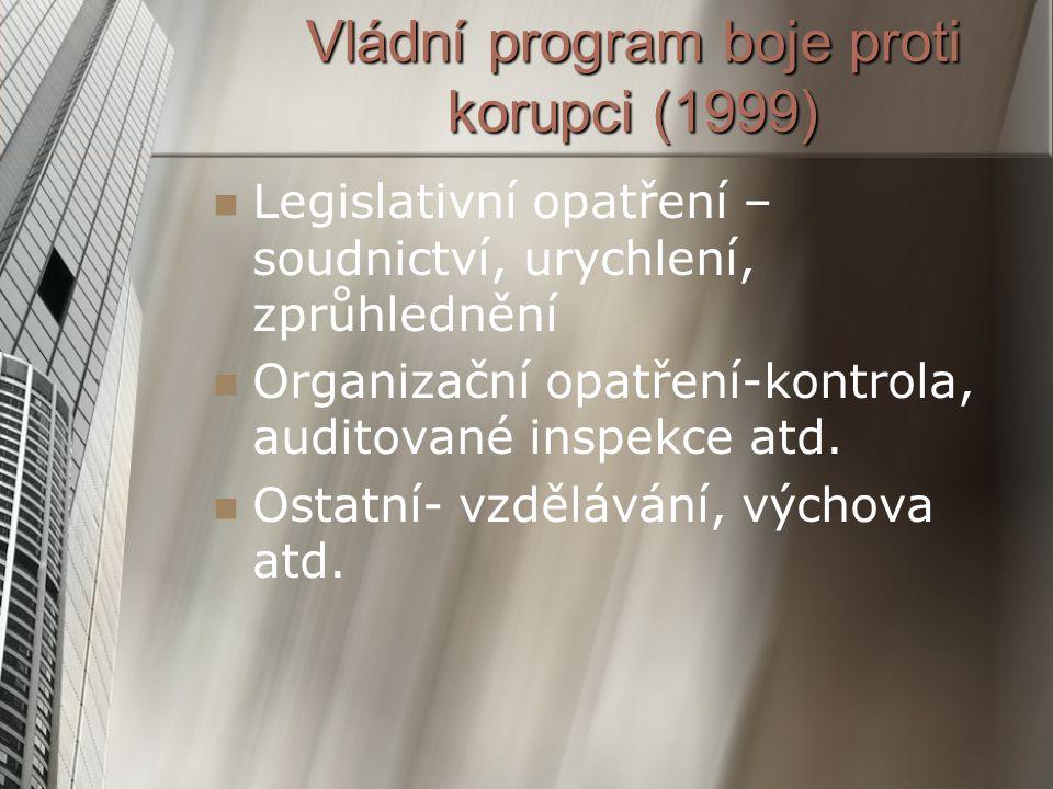 Vládní program boje proti korupci (1999) Legislativní opatření – soudnictví, urychlení, zprůhlednění Organizační opatření-kontrola, auditované inspekc
