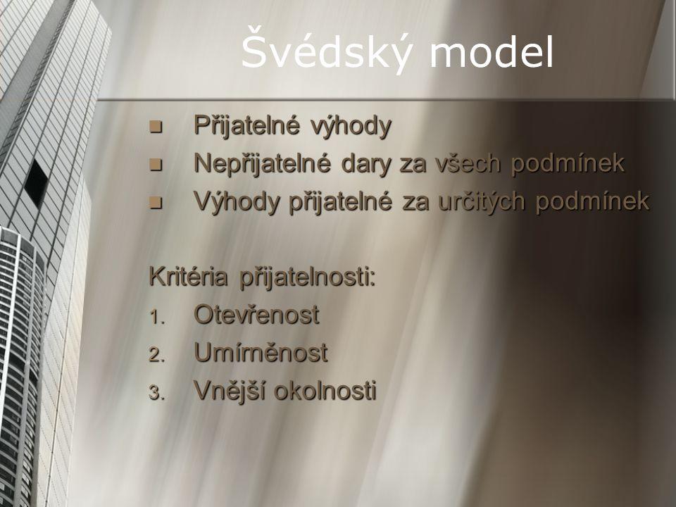Švédský model Přijatelné výhody Přijatelné výhody Nepřijatelné dary za všech podmínek Nepřijatelné dary za všech podmínek Výhody přijatelné za určitýc