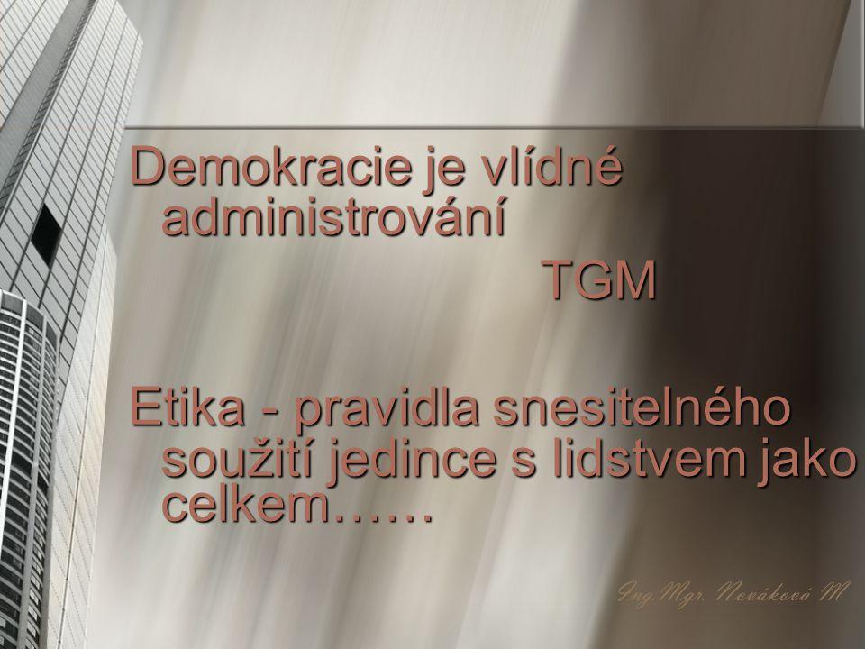 Demokracie je vlídné administrování TGM TGM Etika - pravidla snesitelného soužití jedince s lidstvem jako celkem…… Ing.Mgr. Nováková M