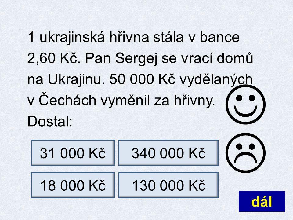 1 ukrajinská hřivna stála v bance 2,60 Kč. Pan Sergej se vrací domů na Ukrajinu.
