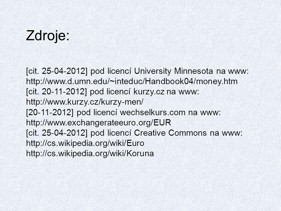Zdroje: [cit. 25-04-2012] pod licencí University Minnesota na www: http://www.d.umn.edu/~inteduc/Handbook04/money.htm [cit. 20-11-2012] pod licencí ku
