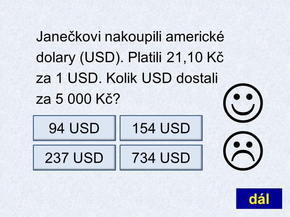 Janečkovi nakoupili americké dolary (USD). Platili 21,10 Kč za 1 USD.