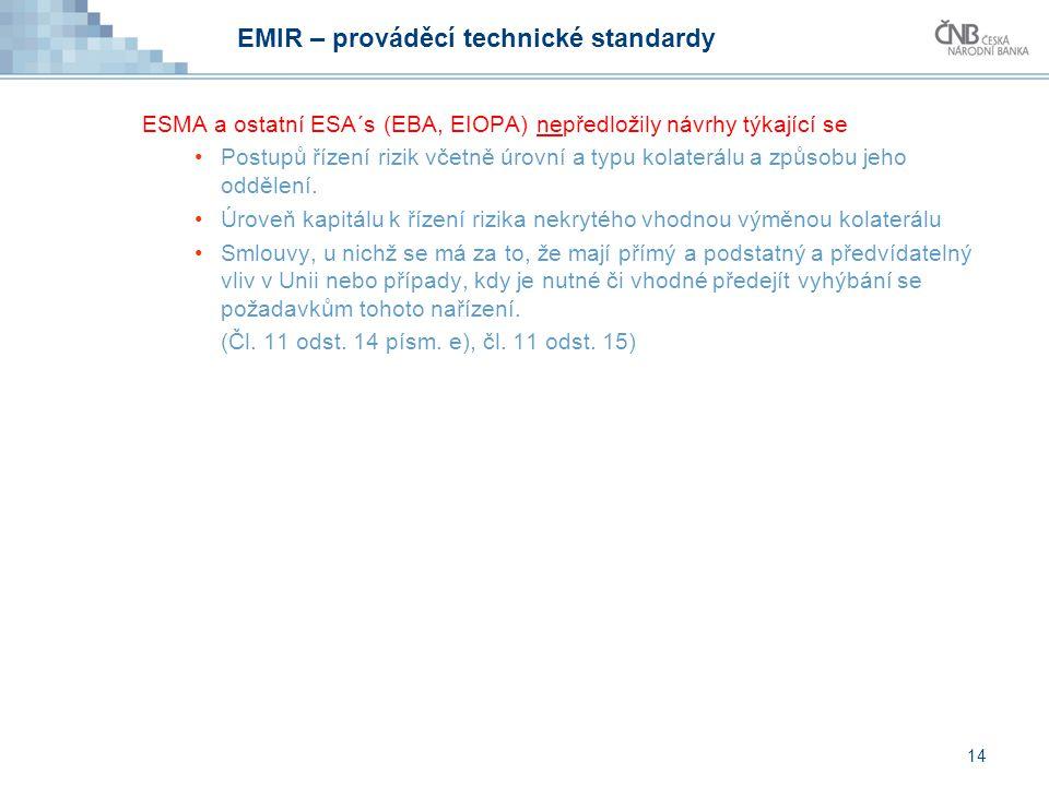 14 EMIR – prováděcí technické standardy ESMA a ostatní ESA´s (EBA, EIOPA) nepředložily návrhy týkající se Postupů řízení rizik včetně úrovní a typu ko
