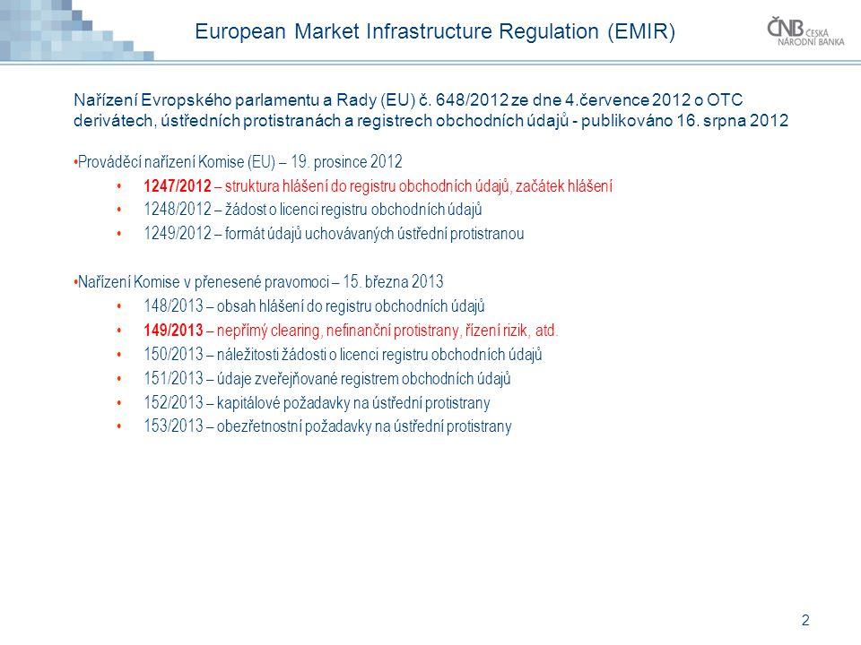 European Market Infrastructure Regulation (EMIR) Nařízení Evropského parlamentu a Rady (EU) č. 648/2012 ze dne 4.července 2012 o OTC derivátech, ústře