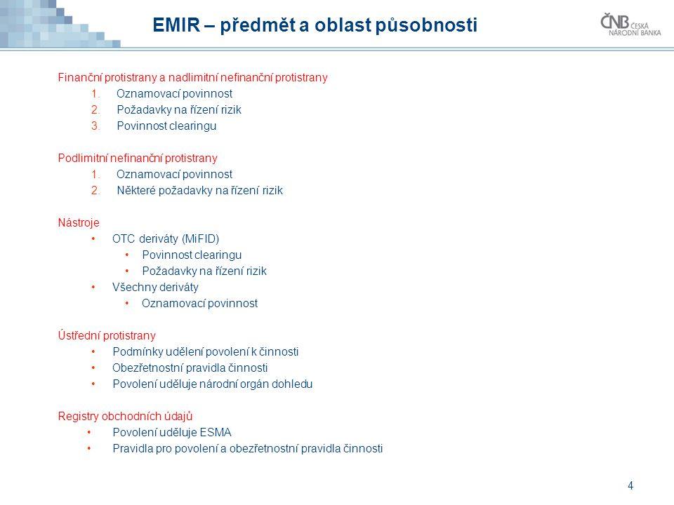4 EMIR – předmět a oblast působnosti Finanční protistrany a nadlimitní nefinanční protistrany 1.Oznamovací povinnost 2.Požadavky na řízení rizik 3.Pov