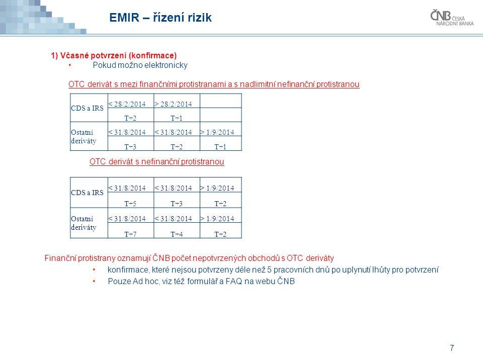 EMIR – řízení rizik 1) Včasné potvrzení (konfirmace) Pokud možno elektronicky OTC derivát s mezi finančními protistranami a s nadlimitní nefinanční pr