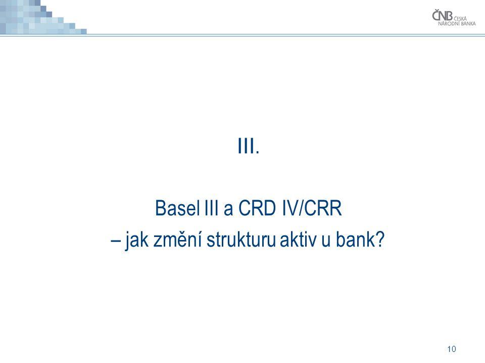 10 III. Basel III a CRD IV/CRR – jak změní strukturu aktiv u bank?