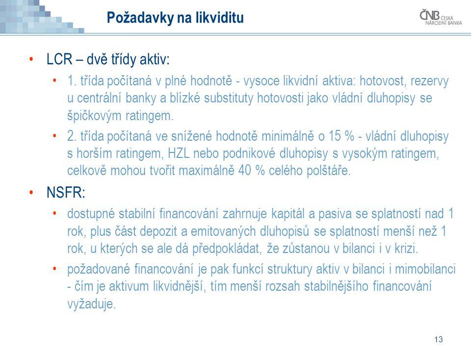 13 Požadavky na likviditu LCR – dvě třídy aktiv: 1. třída počítaná v plné hodnotě - vysoce likvidní aktiva: hotovost, rezervy u centrální banky a blíz