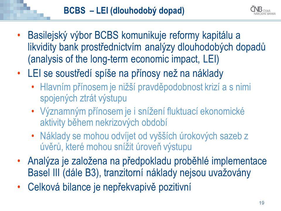 19 BCBS – LEI (dlouhodobý dopad) Basilejský výbor BCBS komunikuje reformy kapitálu a likvidity bank prostřednictvím analýzy dlouhodobých dopadů (analy