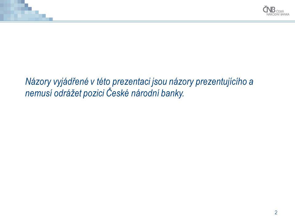 2 Názory vyjádřené v této prezentaci jsou názory prezentujícího a nemusí odrážet pozici České národní banky.