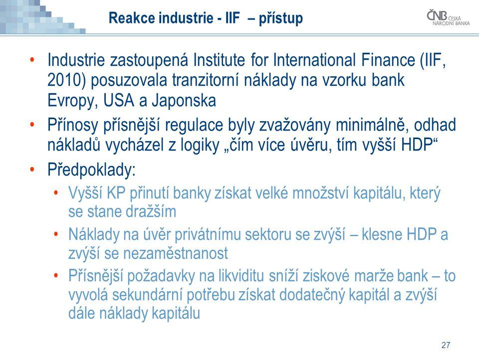 27 Reakce industrie - IIF – přístup Industrie zastoupená Institute for International Finance (IIF, 2010) posuzovala tranzitorní náklady na vzorku bank