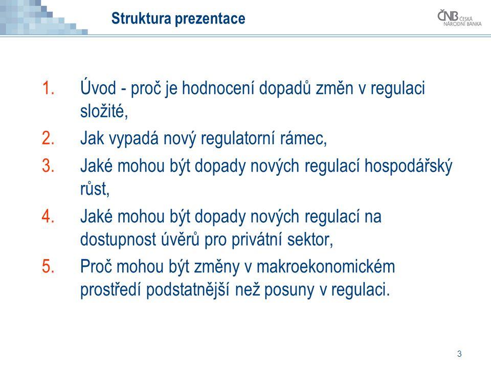 3 Struktura prezentace 1.Úvod - proč je hodnocení dopadů změn v regulaci složité, 2.Jak vypadá nový regulatorní rámec, 3.Jaké mohou být dopady nových