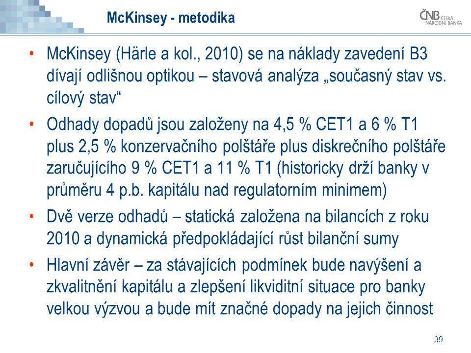 """39 McKinsey - metodika McKinsey (Härle a kol., 2010) se na náklady zavedení B3 dívají odlišnou optikou – stavová analýza """"současný stav vs. cílový sta"""