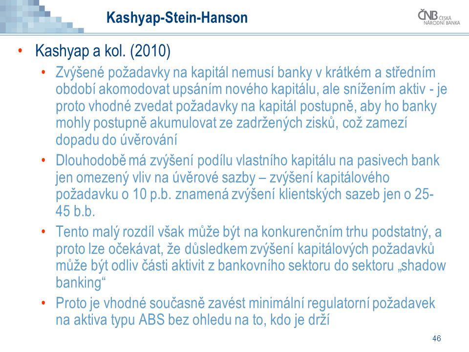 46 Kashyap-Stein-Hanson Kashyap a kol. (2010) Zvýšené požadavky na kapitál nemusí banky v krátkém a středním období akomodovat upsáním nového kapitálu