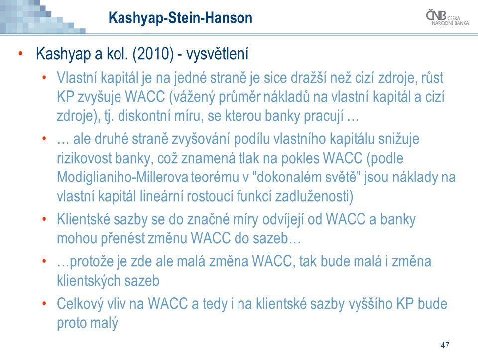 47 Kashyap-Stein-Hanson Kashyap a kol. (2010) - vysvětlení Vlastní kapitál je na jedné straně je sice dražší než cizí zdroje, růst KP zvyšuje WACC (vá