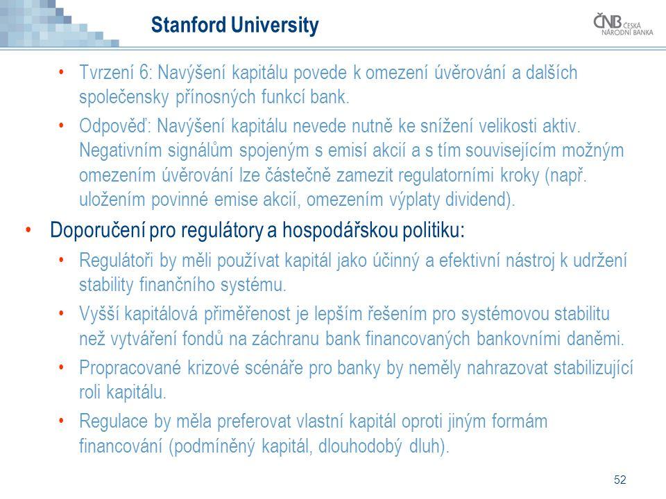 52 Stanford University Tvrzení 6: Navýšení kapitálu povede k omezení úvěrování a dalších společensky přínosných funkcí bank. Odpověď: Navýšení kapitál