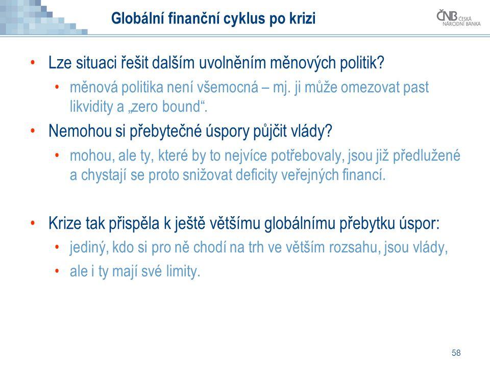 58 Globální finanční cyklus po krizi Lze situaci řešit dalším uvolněním měnových politik? měnová politika není všemocná – mj. ji může omezovat past li