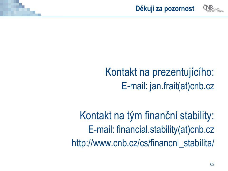 62 Děkuji za pozornost Kontakt na prezentujícího: E-mail: jan.frait(at)cnb.cz Kontakt na tým finanční stability: E-mail: financial.stability(at)cnb.cz