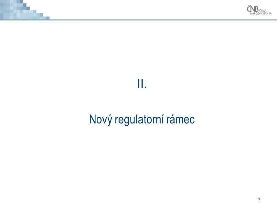 8 Basel III (CRDIV/CRR) - mění se toho hodně Vyšší kapitálová přiměřenost k původním mikroobezřetnostním požadavkům jsou přidány makroobezřetnostní zaměřené na systémové riziko (proticyklické polštáře, přirážky pro SIFI).