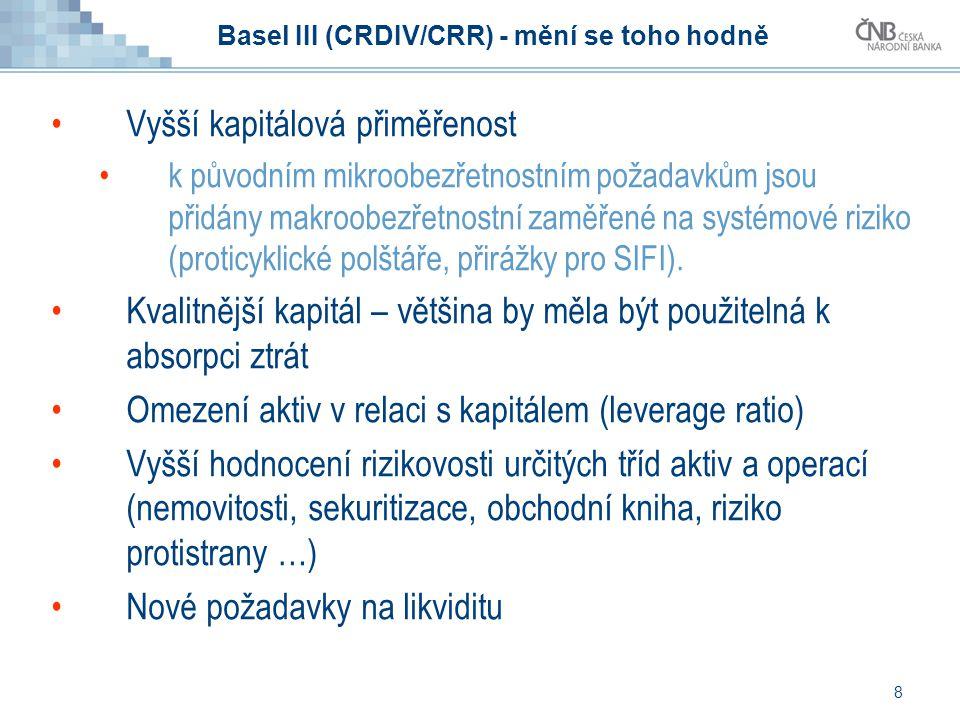 8 Basel III (CRDIV/CRR) - mění se toho hodně Vyšší kapitálová přiměřenost k původním mikroobezřetnostním požadavkům jsou přidány makroobezřetnostní za