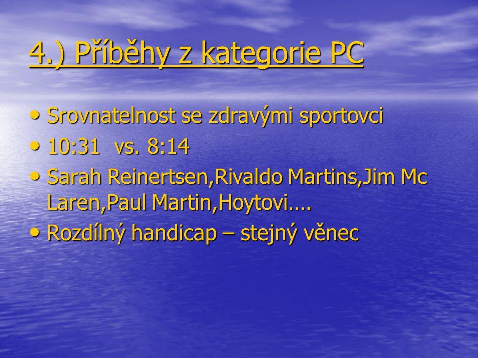 4.) Příběhy z kategorie PC Srovnatelnost se zdravými sportovci Srovnatelnost se zdravými sportovci 10:31 vs. 8:14 10:31 vs. 8:14 Sarah Reinertsen,Riva